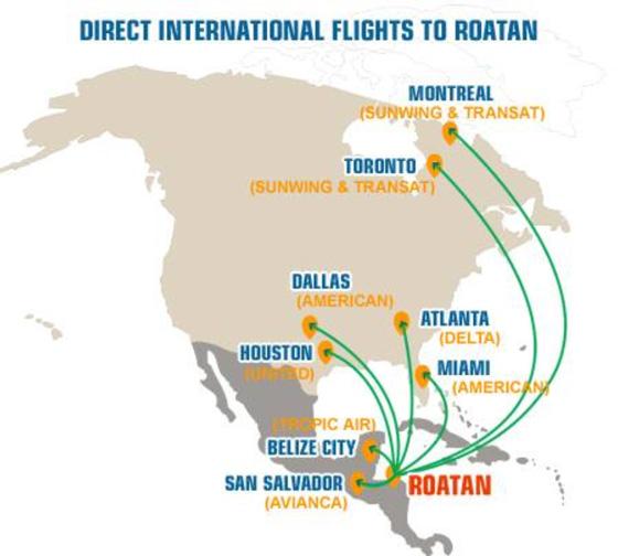 Přímé lety na Roatan